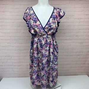 Yumi Kim 100% Silk V Neck Ruffled Dress Polka Dot